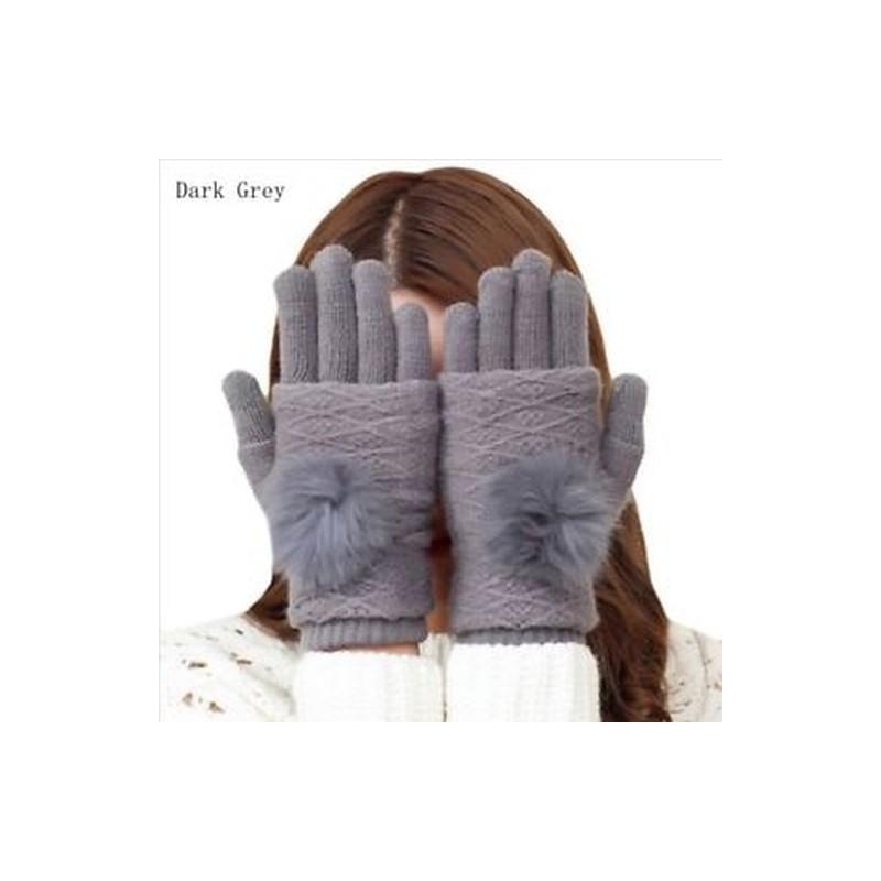 62ee0d5be7 ... Téli kesztyűk Női meleg pompám szőrme labda ujjatlan érintőképernyős  ujjatlan kesztyű ...