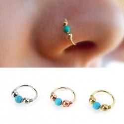 Retro rozsdamentes acél kék türkiz, kerek, orr gyűrű fülbevaló