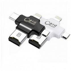 4 in 1 Micro USB típus C 8 pin OTG Micro SD TF kártya olvasó IOS Android PC Mac