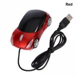 Piros - USB vezetékes egér 3D autó alakú játék egerek LED-lámpával a laptop PC-hez Macbook