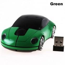 Zöld - Vezeték nélküli egér versenyautó alakú 2,4 GHz optikai játék egér USB vevővel