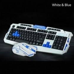 Fehér kék - Vevőegység Vezeték nélküli készlet Gaming billentyűzet egér kombinációja számítógépes