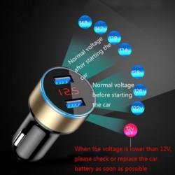 3.1A Kettős USB autós töltő 2 port LCD kijelző 12-24V szivargyujtó