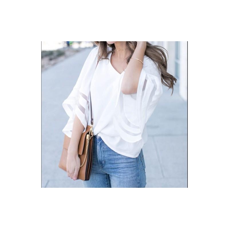 d2bdff75d3 1x Új divatos női laza póló V-nyakú felső