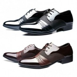 1x Klasszikus férfi lapos cipő luxus férfi alkalmi cipő fekete / barna