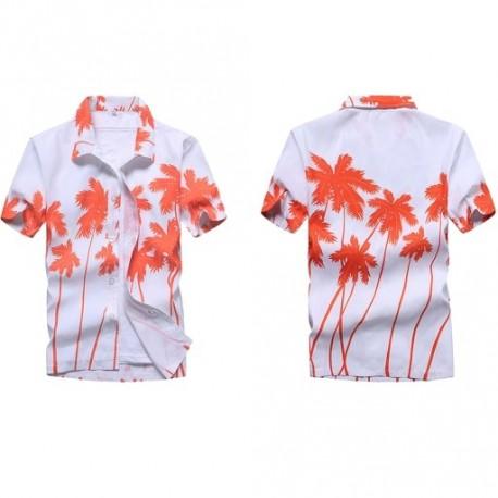 f06cf8fee6 Divat férfi Hawaii póló Nyári virágos nyomtatott strand rövid ujjú felső  blúz