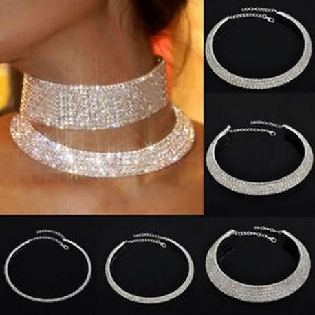 ba19bb91e2 Új Női divat strassz Crystal Choker nyakörv nyaklánc party esküvő ékszer