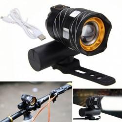 1x Állítható T6 kerékpár fényszóró USB újratölthető vízálló zseblámpa MTB kerékpár lámpa fényszóró