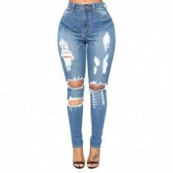 1x divatos kék lyukas szakított női nadrág