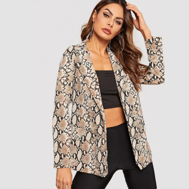 3e182e076a81 1x 2019 Új divatos női tavaszi nyári hosszú ujjú kabát szexi kígyó minta