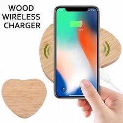 1x Qi vezeték nélküli töltő töltő vékony fa pad mat mat cella Apple iPhone XS MAX Samsung