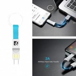 1x 3 az 1 Mini kulcstartó USB kábel Micro USB C típusú villámlás iPhone iPod töltő adat töltőkábel
