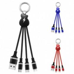 1x 3 az 1 Nylon fonott kulcstartó USB kábel Micro USB töltő Kábel kulcstartó kábel