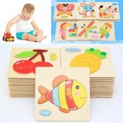 1x Gyümölcs állat mintás fa elemek kisgyermek baba gyerekek oktatás puzzle kirakós játék