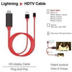 HDMI 2M kábel Apple iPhone XS XS MAX XR X 8 8 plus 7 7 Plus 6 6s 5 5s 5S A világító kábel adapter HDTV TV 8 Pin HD1080P