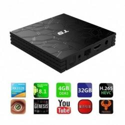 1x Wifi GPU nagyfelbontású lejátszó Android 8.1 TV Box T9 4 GB RAM 32 GB ROM Quad Core Wifi 4K média