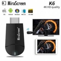 1x Mirascreen vezeték nélküli WiFi kijelző Dongle vevőkészülék 2.4Ghz / 5GHz K6 4K HD wifi TV Stick