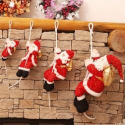 Kötélen mászó Mikulás - Télapó figura - Karácsonyi dekoráció - 46cm
