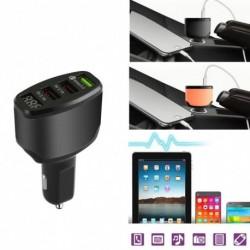 3-portos USB Autó töltő adapter LED kijelző QC 3.0 Gyors töltés Android IOS