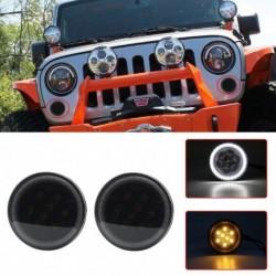 2db LED fehér Halo irányjelző Parkoló oldalsó irányjelző DRL  Jeep Wrangler JK