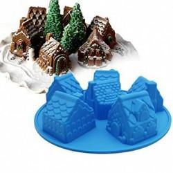 1x 3D-s ház szilikon karácsonyi ajándék DIY a torta sütés csokoládé cukorka szappan készítő forma