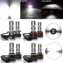 2db Mini H7 / H4 / 9005/9006 LED fényszóró izzó COB chip Autó vezetõ lámpa DRL 6000K fehér