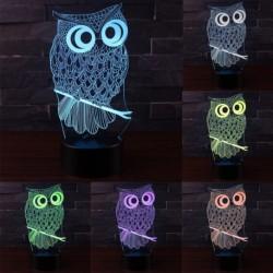 1x 3D bagoly színváltós érintő LED asztali lámpa éjszakai világítás kreatív ajándék
