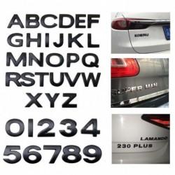 3D DIY Autó matricák (A-Z & 0-9) Fémes ábécé matrica autó embléma betű fekete matrica
