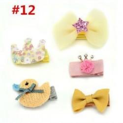 * 12 5Pcs / Set. 1 Set Hairpin Baby Girl hajcsípő íj virág Mini barrettes Star Kids fejfedők