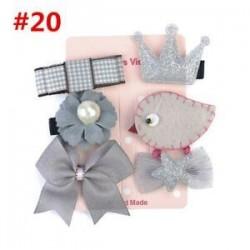 * 20 6Pcs / Set. 1 Set Hairpin Baby Girl hajcsípő íj virág Mini barrettes Star Kids fejfedők