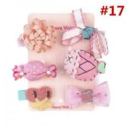 * 17 6Pcs / Set. 1 Set Hairpin Baby Girl hajcsípő íj virág Mini barrettes Star Kids fejfedők