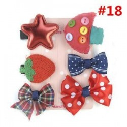* 18 6Pcs / Set. 1 Set Hairpin Baby Girl hajcsípő íj virág Mini barrettes Star Kids fejfedők