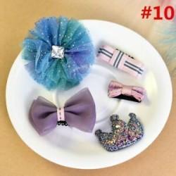 * 10 5Pcs / Set. 1 Set Hairpin Baby Girl hajcsípő íj virág Mini barrettes Star Kids fejfedők