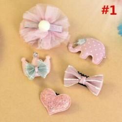 * 1 5Pcs / Set. 1 Set Hairpin Baby Girl hajcsípő íj virág Mini barrettes Star Kids fejfedők