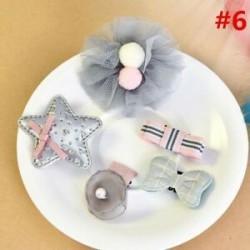 * 6 5Pcs / Set. 1 Set Hairpin Baby Girl hajcsípő íj virág Mini barrettes Star Kids fejfedők