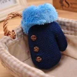 Sötétkék. Újszülött gyerekek téli meleg meleg kesztyű Lányok fiúk Stretchy kötött kötött ujjatlan ajándék