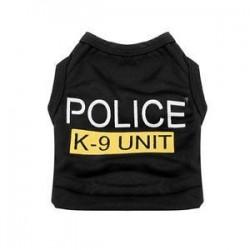 S. Kutya macska mellény rendőrség kölyök póló kabát kisállat ruhák nyári ruházat jelmezek fekete