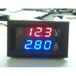 100V 10A feszültségmérő mérőműszer, kék, piros, LED, DC, kettős, digitális feszültségmérő