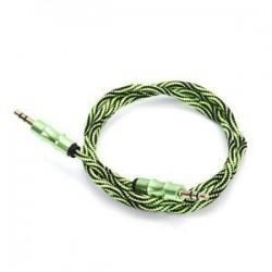 Zöld. Zöld. 1M 3.5mm AUX Audio TRS Jack kábel Nylon hímzett csatlakozó sztereó autós telefonhoz