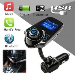 """Hands-free Bluetooth autós készlet MP3 zenelejátszó FM transzmitter 5V 2.1A USB autós töltő 1.44 """"LED kijelző"""