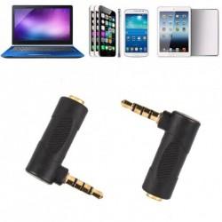 1db 90 fokos, jobb oldali 3,5 mm-es 4pólusú audió sztereó  bővítő adapter fekete