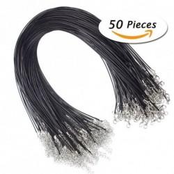 """50Pcs 18"""" fekete bőr fonott viasz Cord nyaklánc homár zárószerkezethez DIY Ékszerek készítése"""
