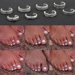 Új híresség Totem Boho bohém ezüst Vintage Retro Finger Foot gyűrűk nyitott állítható Toe ékszerek nyári strand kiegészítők