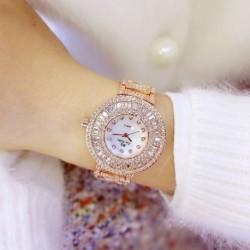 Elegáns elegáns női teljes strassz rozsdamentes acél telefonos analóg kvarc karkötő Watch