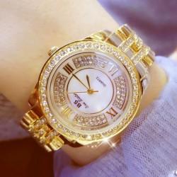 Új divat strasszos kristály rozsdamentes acél Dial kvarc női ruha karkötő óra