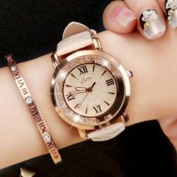 Luxus női divat rozsdamentes acél áramló Crystal Dial kvarc Watch analóg PU bőr karóra