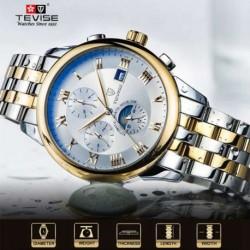 TEVISE divat férfi luxus márka Watch rozsdamentes acél mechanikai automatikus üzleti karórák