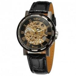 GYŐZTES férfi divat luxus márka csontváz PU bőr Watch automatikus mechanikus üzleti karórák