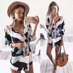 7d2e44963f 1x Női új divatos Hosszú ujjú mintás ruha Szexi V nyakú Mini Ünnepi ruha