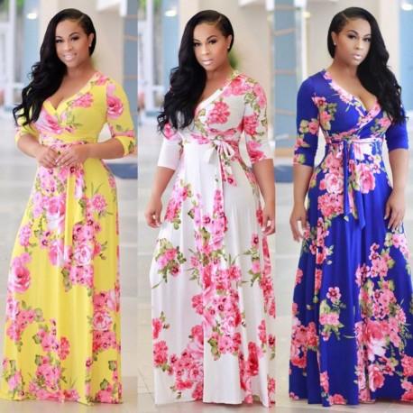 3da9ce1727 1x női virágos lenge kényelmes alkalmi hosszú ruha
